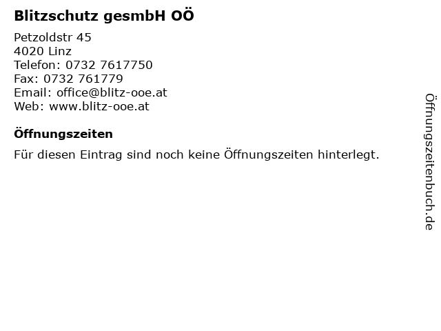 Blitzschutz gesmbH OÖ in Linz: Adresse und Öffnungszeiten