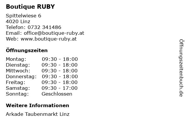 Boutique RUBY in Linz: Adresse und Öffnungszeiten