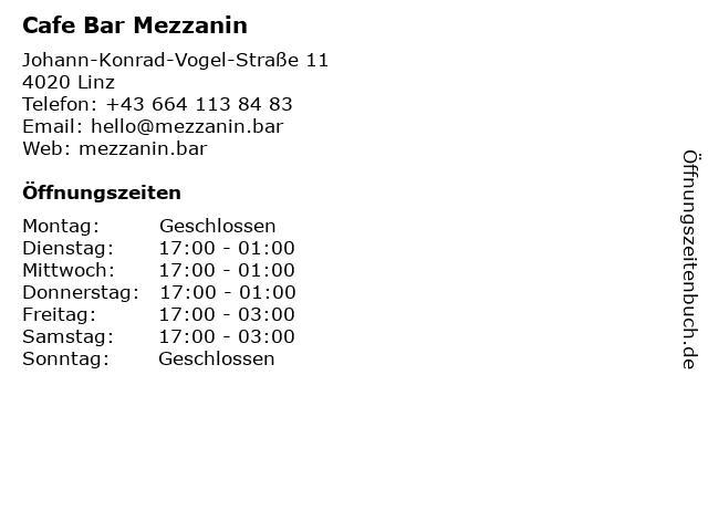 Cafe Bar Mezzanin in Linz: Adresse und Öffnungszeiten