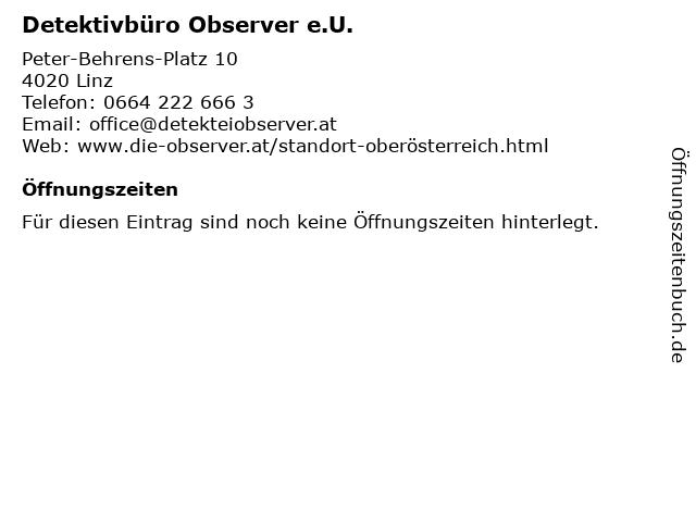 Detektivbüro Observer e.U. in Linz: Adresse und Öffnungszeiten
