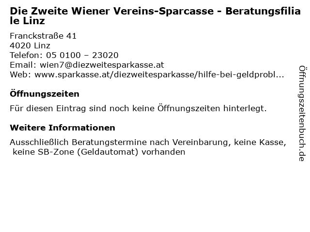 Die Zweite Wiener Vereins-Sparcasse - Beratungsfiliale Linz in Linz: Adresse und Öffnungszeiten