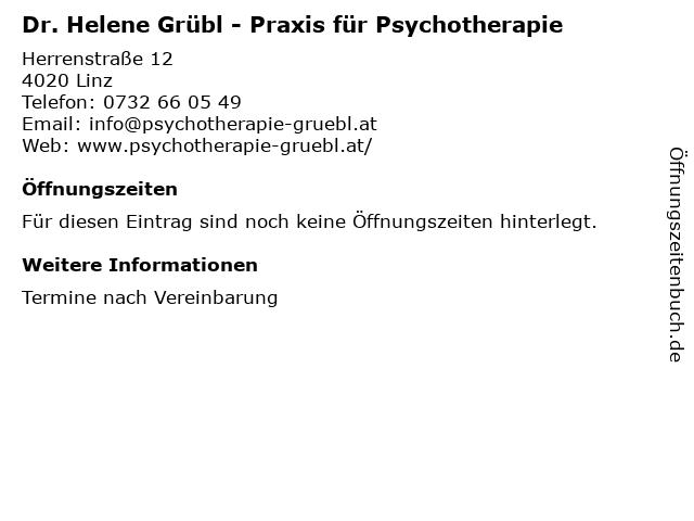 Dr. Helene Grübl - Praxis für Psychotherapie in Linz: Adresse und Öffnungszeiten