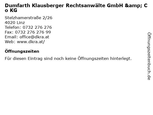 Dumfarth Klausberger Rechtsanwälte GmbH & Co KG in Linz: Adresse und Öffnungszeiten