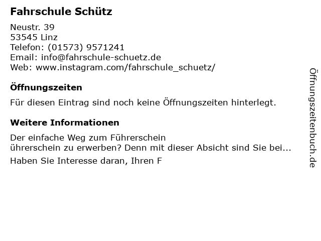 ᐅ Offnungszeiten Fahrschule Schutz Neustrasse 39 In Linz Am Rhein