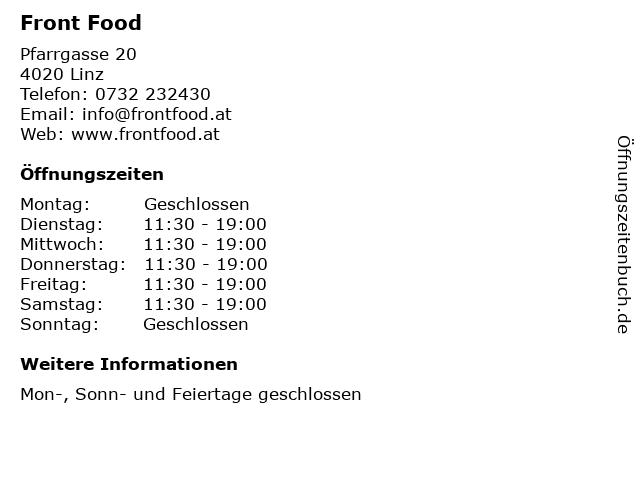 Front Food in Linz: Adresse und Öffnungszeiten