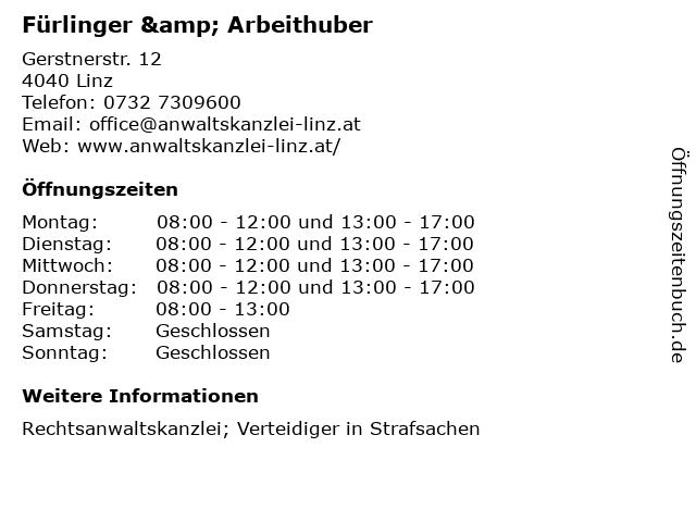 Fürlinger & Arbeithuber in Linz: Adresse und Öffnungszeiten