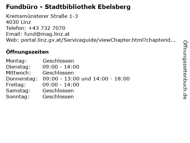 Fundbüro - Stadtbibliothek Ebelsberg in Linz: Adresse und Öffnungszeiten