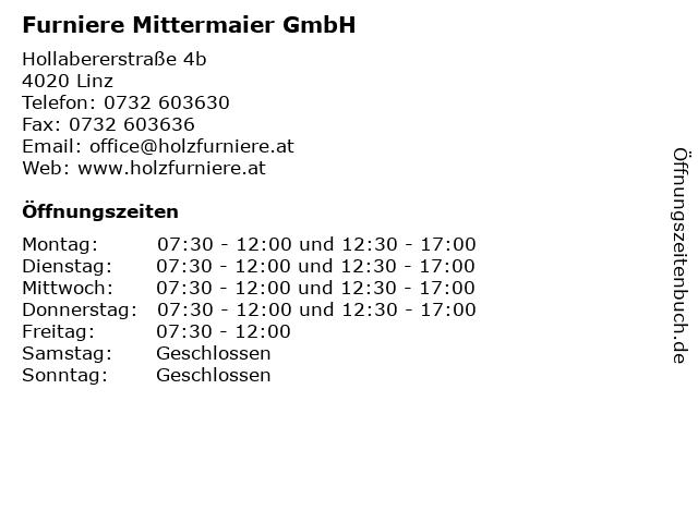 Furniere Mittermaier GmbH in Linz: Adresse und Öffnungszeiten