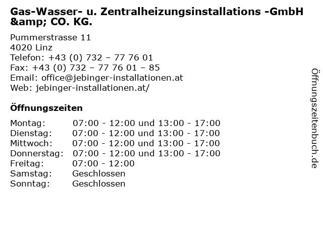 Gas-Wasser- u. Zentralheizungsinstallations -GmbH & CO. KG. in Linz: Adresse und Öffnungszeiten