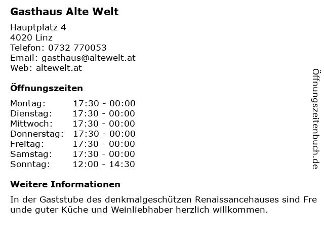 Gasthaus Alte Welt in Linz: Adresse und Öffnungszeiten