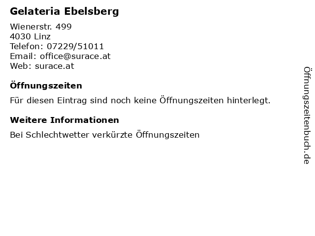 Gelateria Ebelsberg in Linz: Adresse und Öffnungszeiten