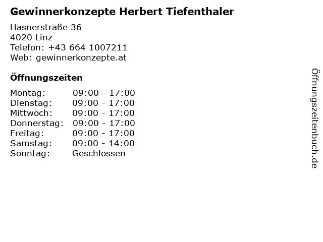 Gewinnerkonzepte Herbert Tiefenthaler in Linz: Adresse und Öffnungszeiten