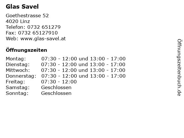 Glas Savel in Linz: Adresse und Öffnungszeiten