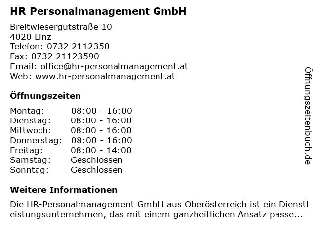 HR Personalmanagement GmbH in Linz: Adresse und Öffnungszeiten