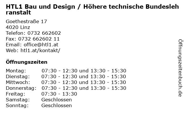 HTL1 Bau und Design / Höhere technische Bundeslehranstalt in Linz: Adresse und Öffnungszeiten