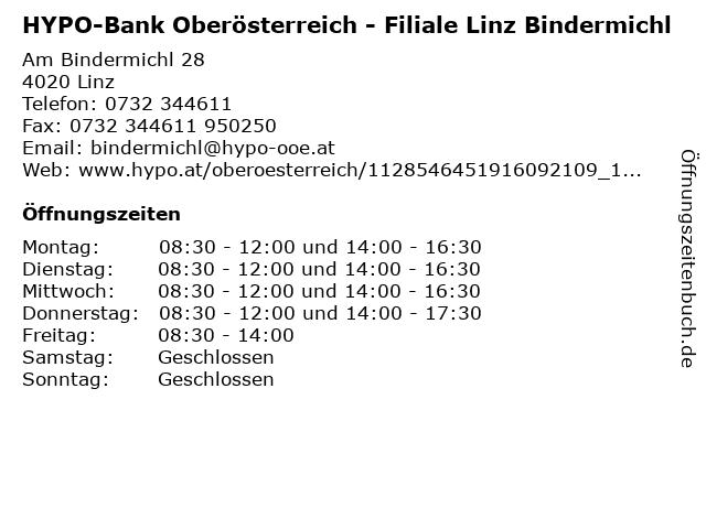 HYPO-Bank Oberösterreich - Filiale Linz Bindermichl in Linz: Adresse und Öffnungszeiten