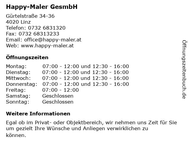 Happy-Maler GesmbH in Linz: Adresse und Öffnungszeiten