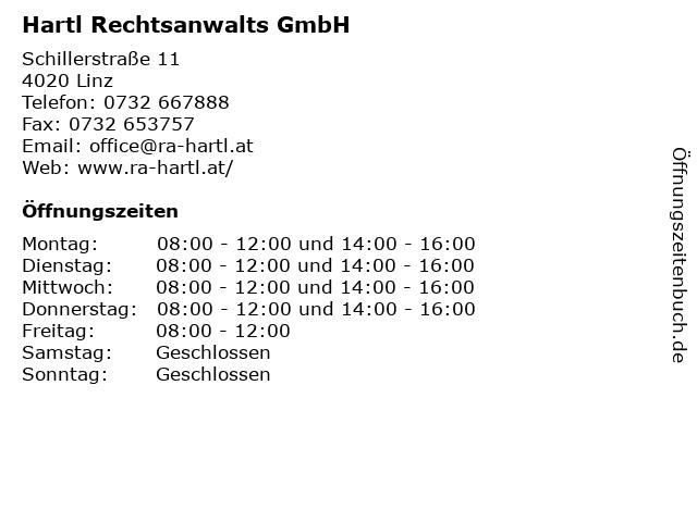Hartl Rechtsanwalts GmbH in Linz: Adresse und Öffnungszeiten