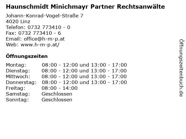 Haunschmidt Minichmayr Partner Rechtsanwälte in Linz: Adresse und Öffnungszeiten