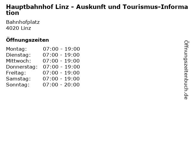 Hauptbahnhof Linz - Auskunft und Tourismus-Information in Linz: Adresse und Öffnungszeiten