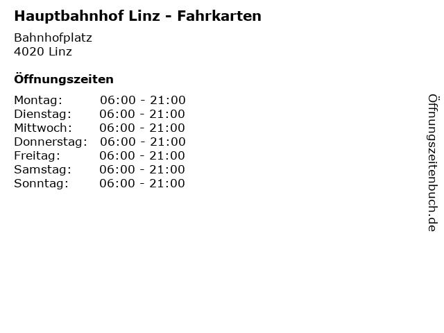 Hauptbahnhof Linz - Fahrkarten in Linz: Adresse und Öffnungszeiten