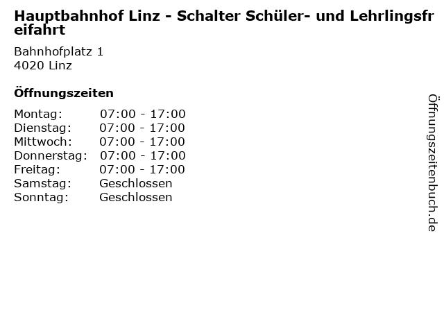 Hauptbahnhof Linz - Schalter Schüler- und Lehrlingsfreifahrt in Linz: Adresse und Öffnungszeiten