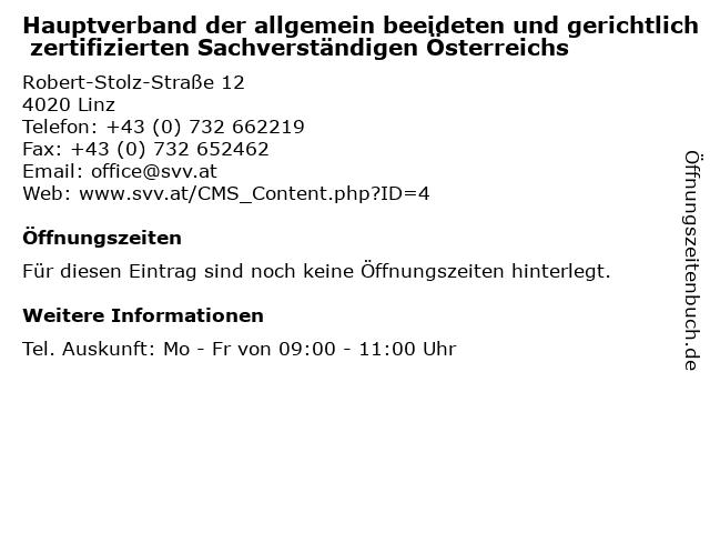 Hauptverband der allgemein beeideten und gerichtlich zertifizierten Sachverständigen Österreichs in Linz: Adresse und Öffnungszeiten