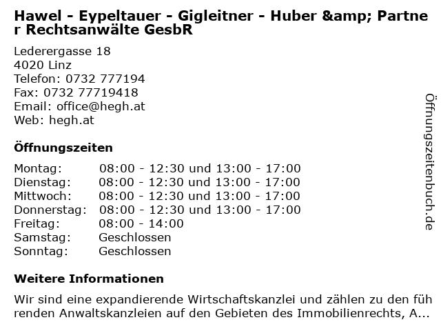 Hawel - Eypeltauer - Gigleitner - Huber & Partner Rechtsanwälte in Linz: Adresse und Öffnungszeiten