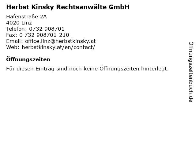 Herbst Kinsky Rechtsanwälte GmbH in Linz: Adresse und Öffnungszeiten