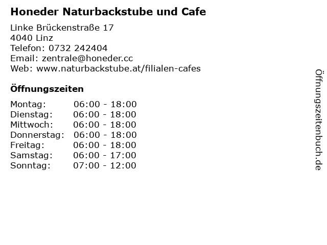 Honeder Naturbackstube und Cafe in Linz: Adresse und Öffnungszeiten