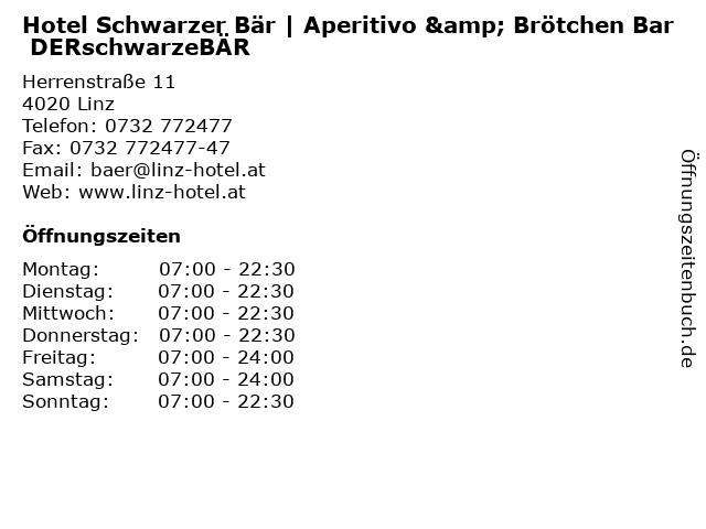 Hotel Schwarzer Bär | Aperitivo & Brötchen Bar DERschwarzeBÄR in Linz: Adresse und Öffnungszeiten