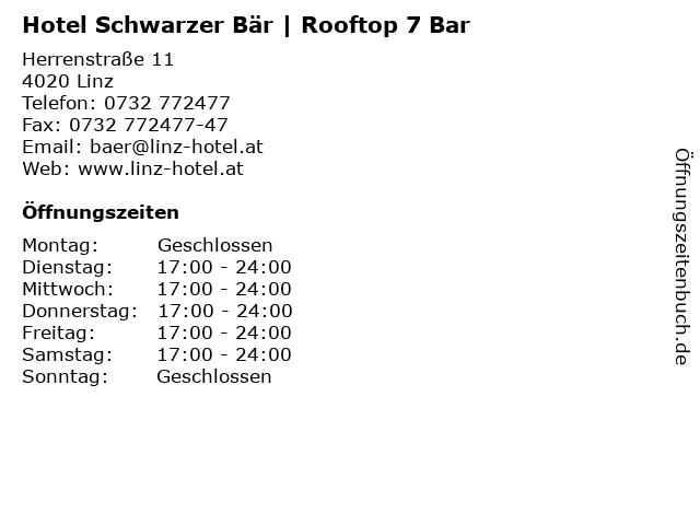 Hotel Schwarzer Bär | Rooftop 7 Bar in Linz: Adresse und Öffnungszeiten
