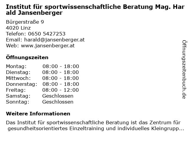 Institut für sportwissenschaftliche Beratung Mag. Harald Jansenberger in Linz: Adresse und Öffnungszeiten