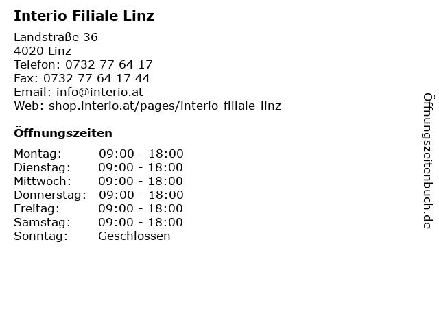 ᐅ öffnungszeiten Interio Filiale Linz Landstraße 36 In Linz