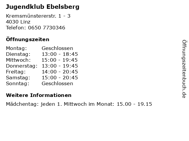 Jugendklub Ebelsberg in Linz: Adresse und Öffnungszeiten