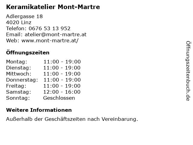 Keramikatelier Mont-Martre in Linz: Adresse und Öffnungszeiten
