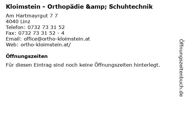 Kloimstein - Orthopädie & Schuhtechnik in Linz: Adresse und Öffnungszeiten