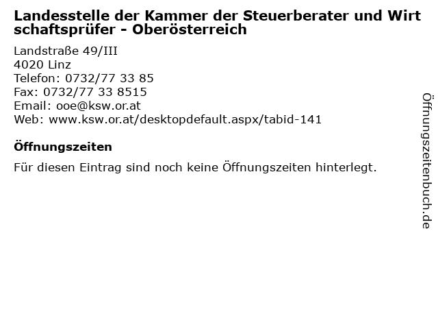 Landesstelle der Kammer der Steuerberater und Wirtschaftsprüfer - Oberösterreich in Linz: Adresse und Öffnungszeiten
