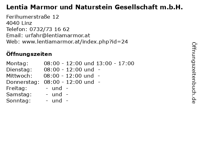 Lentia Marmor und Naturstein Gesellschaft m.b.H. in Linz: Adresse und Öffnungszeiten