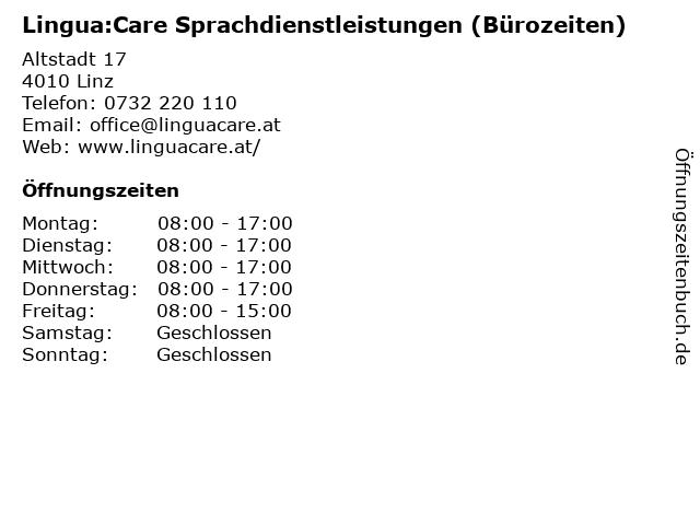 Lingua:Care Sprachdienstleistungen (Bürozeiten) in Linz: Adresse und Öffnungszeiten