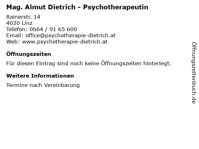 Mag. Almut Dietrich - Psychotherapeutin in Linz: Adresse und Öffnungszeiten