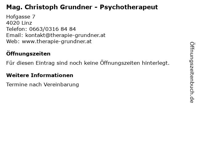 Mag. Christoph Grundner - Psychotherapeut in Linz: Adresse und Öffnungszeiten