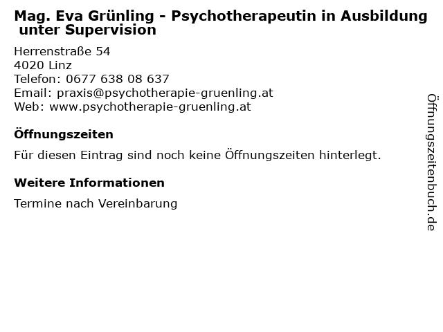 Mag. Eva Grünling - Psychotherapeutin in Ausbildung unter Supervision in Linz: Adresse und Öffnungszeiten
