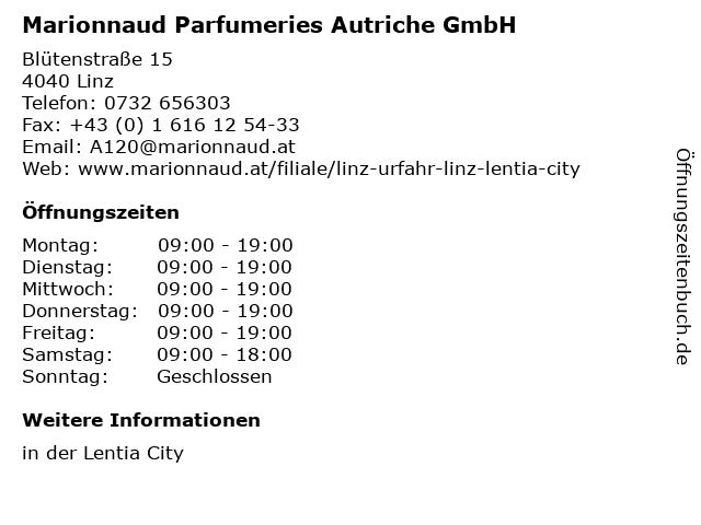 Marionnaud Parfumeries Autriche GmbH in Linz: Adresse und Öffnungszeiten