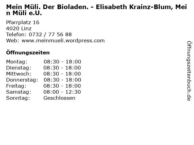 Mein Müli. Der Bioladen. - Elisabeth Krainz-Blum, Mein Müli e.U. in Linz: Adresse und Öffnungszeiten