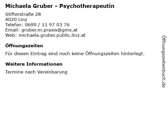 Michaela Gruber - Psychotherapeutin in Linz: Adresse und Öffnungszeiten