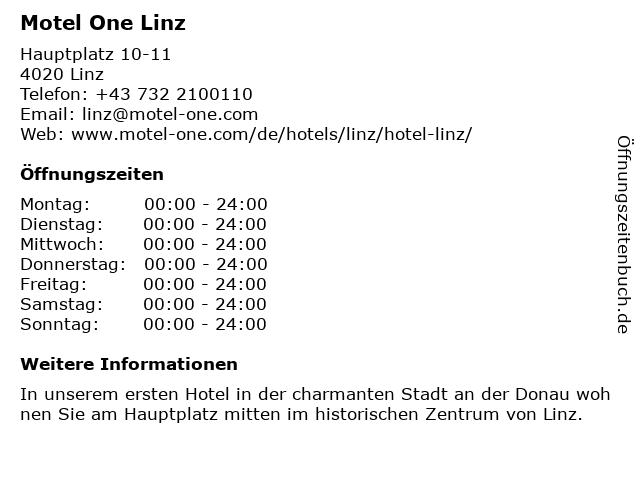 Motel One Linz in Linz: Adresse und Öffnungszeiten