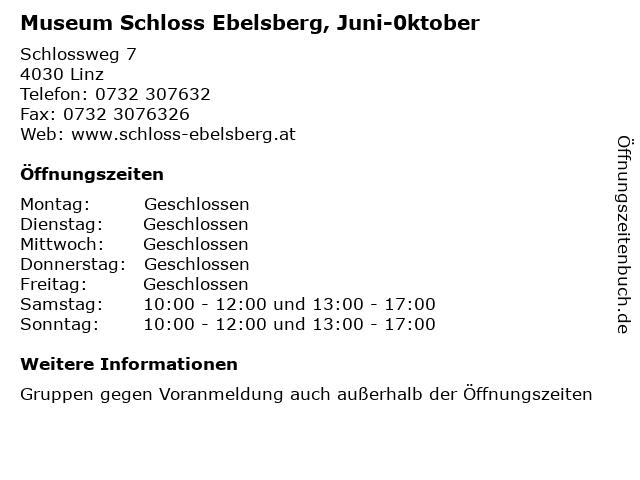Museum Schloss Ebelsberg, Juni-0ktober in Linz: Adresse und Öffnungszeiten