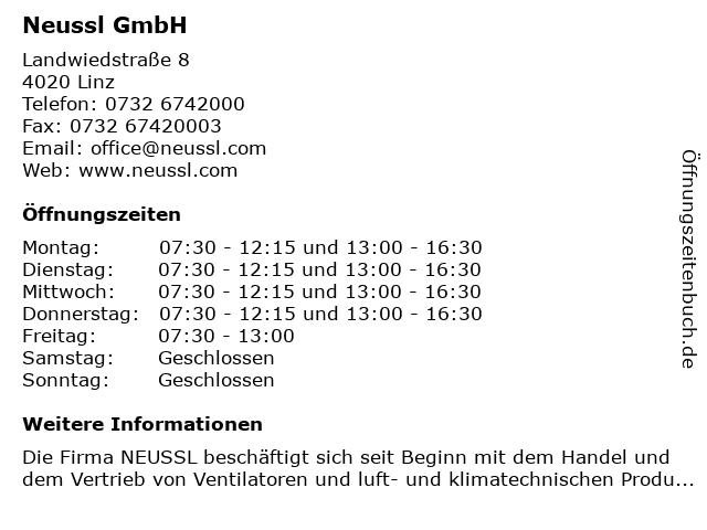 Neussl GmbH in Linz: Adresse und Öffnungszeiten