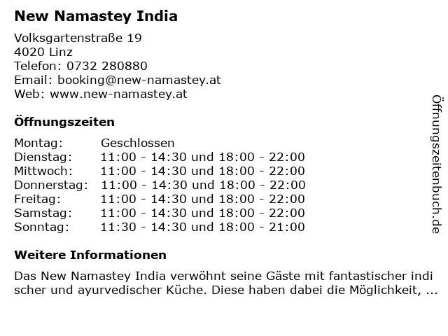 New Namastey India in Linz: Adresse und Öffnungszeiten